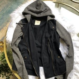 Abercrombie & Fitch Black & Grey Moto Style Jacket
